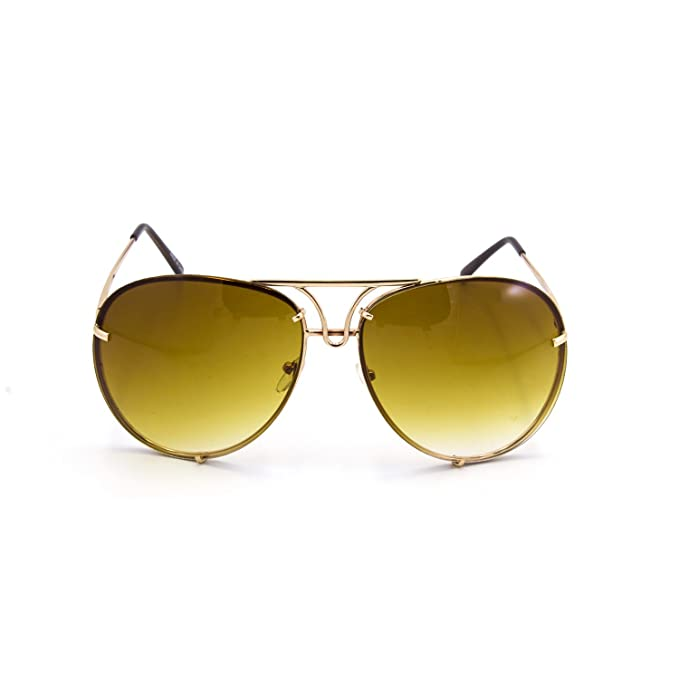 40840366da6 Oversize Rimless Retro Vintage Style Oversize Color Lens Aviator Sunglasses  (Gold