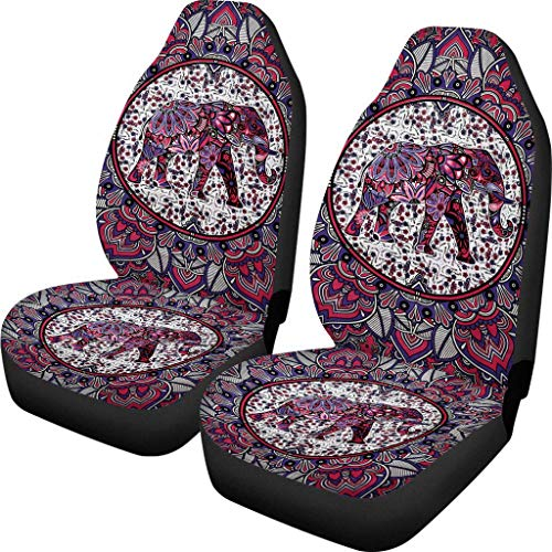 Advocator Afrikan Elephants Fabric Front Seat Covers Bohemia Design Car Interior Protector Set of 2 Universal Fit for Vehicle Sedan and Jeep