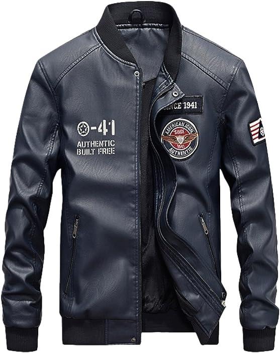 Vogstyle Uomo Nuovo PU Pelle Baseball Giacca Casual Zip Cappotto Jacket 3b11b3b5fa2