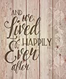 Cheap P. GRAHAM DUNN and We Lived Happily Ever After White Floral Design 21 x 18 Wood Pallet Wall Art Sign Plaque