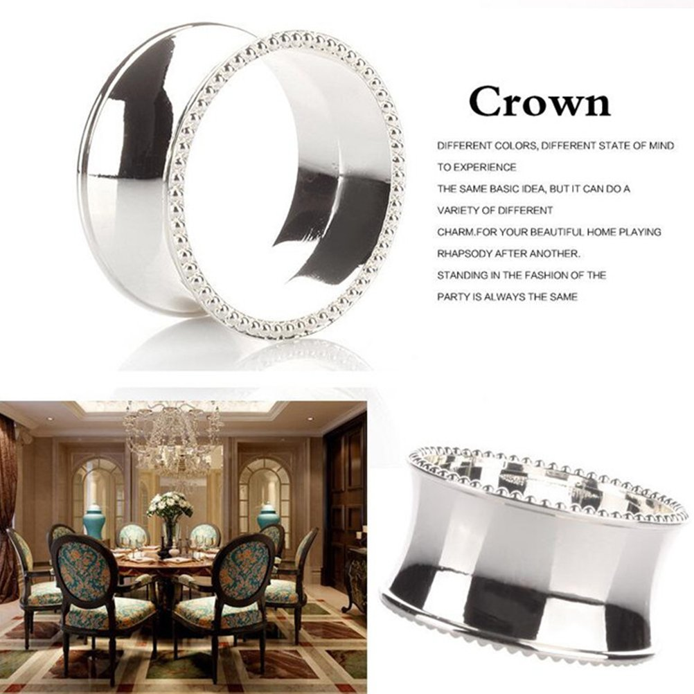 Stainless Steel Napkin Ring Side Beaded Oval Napkin Holder for Weddings Dinners Parties and Daily Use Silver
