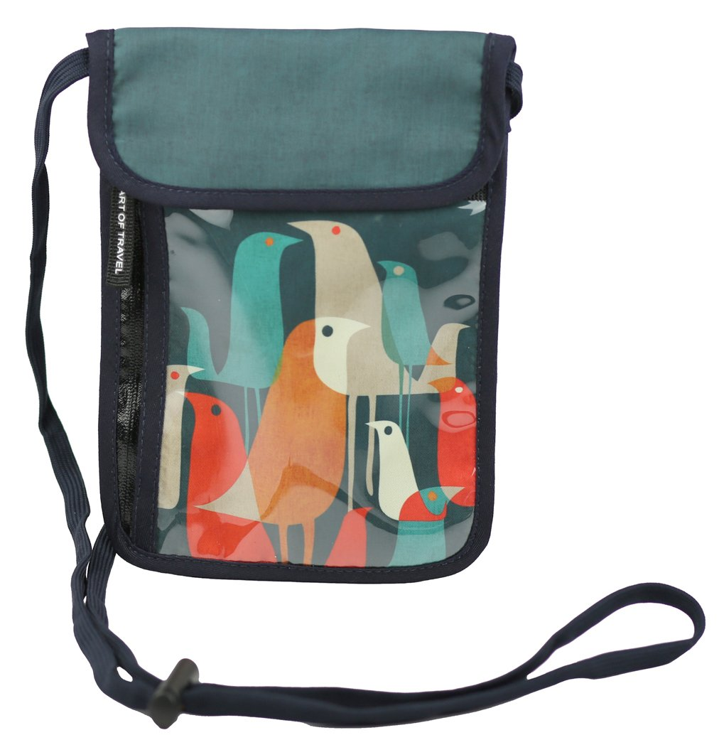 RFID Safe Hidden Travel Passport Neck Wallet by ART OF TRAVEL - A Partnership with Artists Around the World - Design by Budi Kwan (Indonesia) - Flock of Birds by Art of Travel