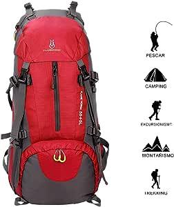 EUATEO-Mochila de montaña 60L Mochila Impermeable Deportes al Aire Libre Mochila con Cubierta Impermeable Senderismo montañismo Turismo de Pesca equitación (Rojo)