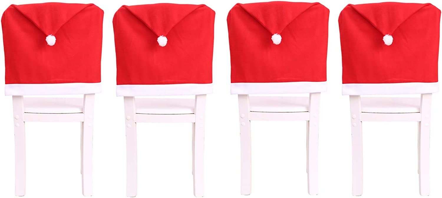 LERTREE 4Pcs/6Pcs Christmas Chair Covers Red Santa Hat Chair Back Covers Home Dinner Xmas Party Decor (4)
