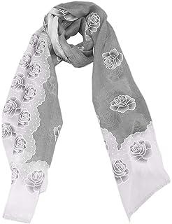 Sommer Schal Weiß Tuch Flamingo mit Blume Plaid Stola Rechteck Schal 7089