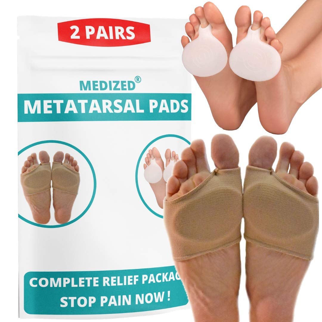Metatarsal Pads Ball of Foot Cushions -Gel Ball of Foot Pads Sleeves - Mortons Neuroma Callus Blisters Forefoot Bunion Metatarsalgia Pain Relief Support