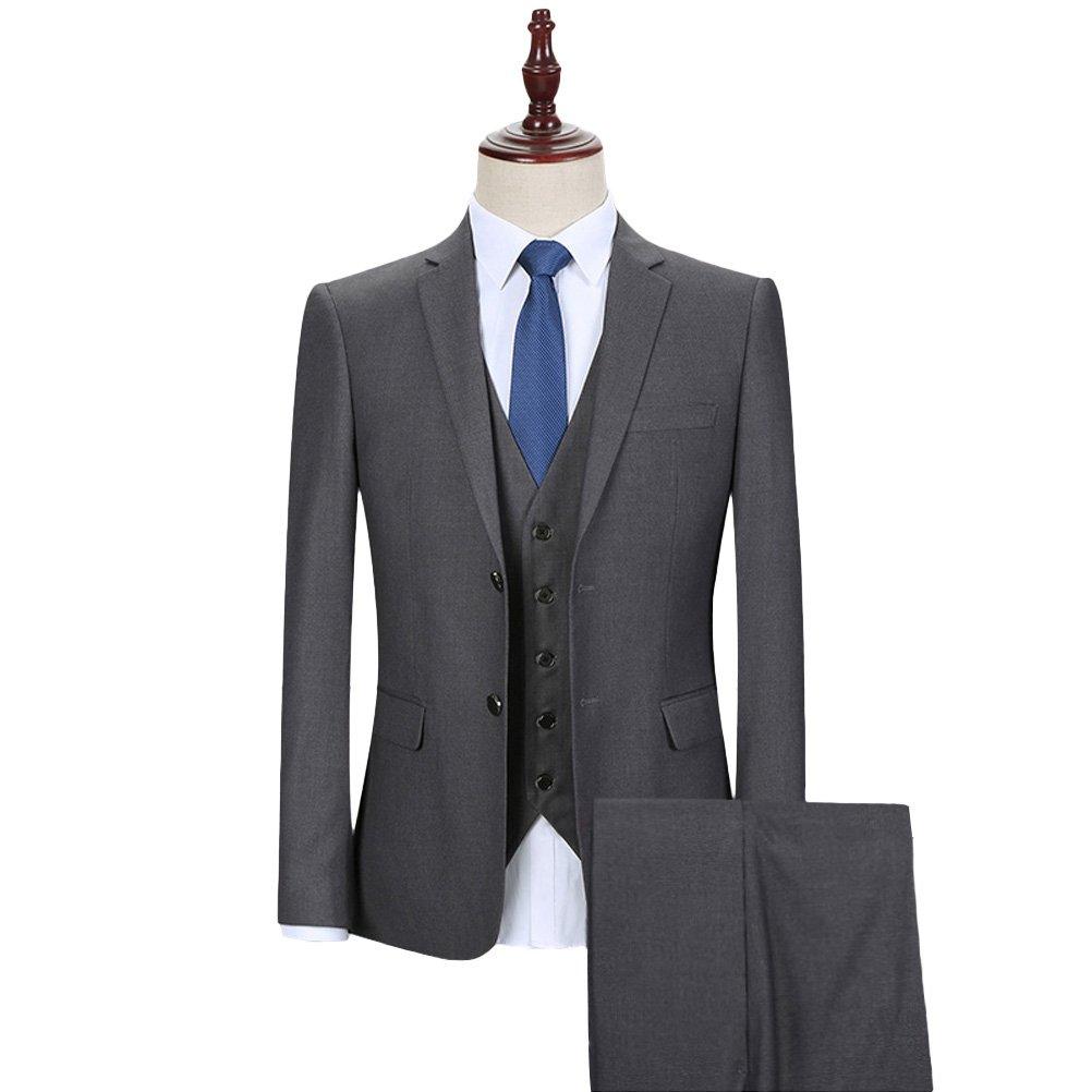 YOUTHUP Costume Homme Trois-Pièces Slim Fit Formel Mode Bussiness Mariage  Veste Gilet et Pantalon 66d13df7a6b