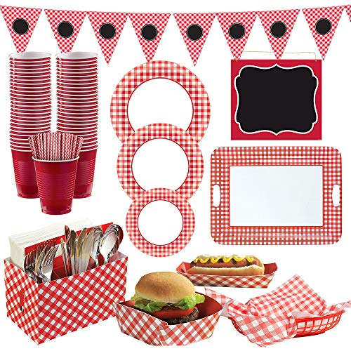 Party City Gingham BBQ Party Supplies, Include Plates, Napkins, Straws, Banner, Basket Liners, Serving Pieces, and More