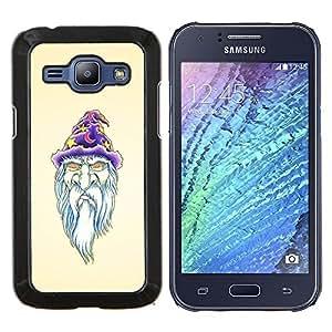 Queen Pattern - FOR Samsung Galaxy J1 J100 J100H - beard wizzard witch art portraid white old man - Cubierta del caso de impacto con el patr???¡¯???€????€??