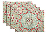 FLY SPRAY Washable Placemats Set of 4 Non-slip Textile Printing Flora Pattern Indian Colorful Cotton Linen Durable Non-fading Table Mats for Kitchen (13''x 17'')
