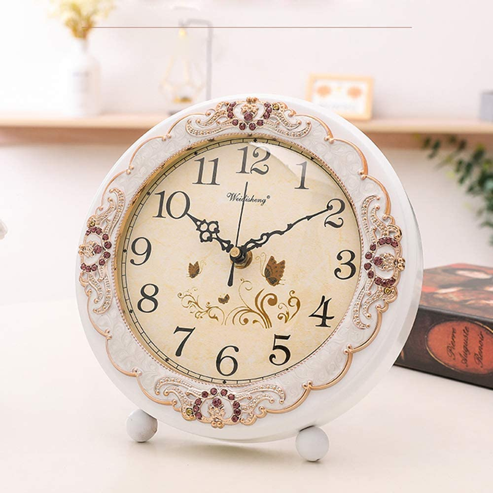 Retro Non-Ticking European Style Beside Mantle Desk Clock Battery Operated Silent Quartz Movement for Bedroom Living Room Indoor Decor JUSTUP Vintage Table Clock White