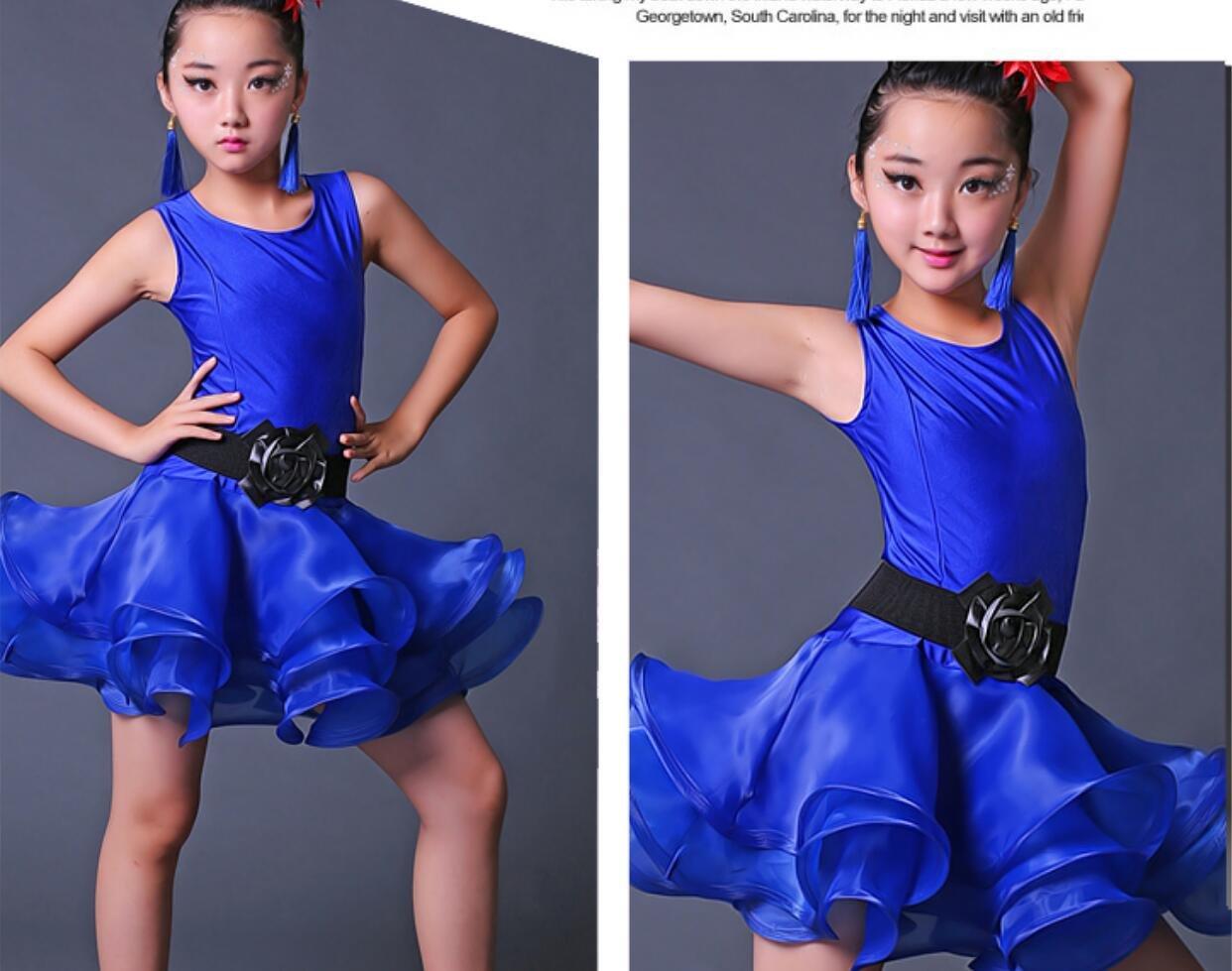 Disfraz de Latino Pr/áctica de Baile para ni/ños Ropa Latin Dance Performance Match Wear Rose Verde Azul