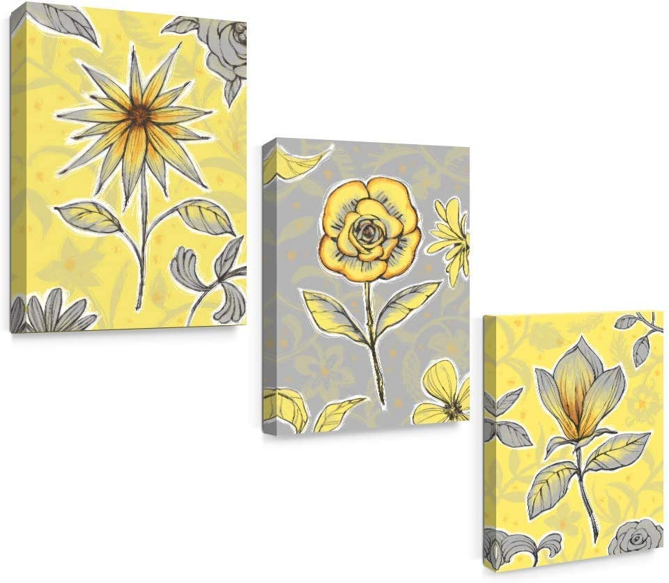 Amazon Com Sumgar Yellow Wall Art Bedroom 3 Piece Grey Flower Pictures Kitchen Gray Floral Canvas Paintings Living Room Framed Artwork Set Bathroom Decor 12x16 Inch Posters Prints