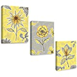 SUMGAR Yellow Wall Art Bedroom 3 Piece Grey Flower Pictures Kitchen Gray Floral Canvas Paintings Living Room Framed…