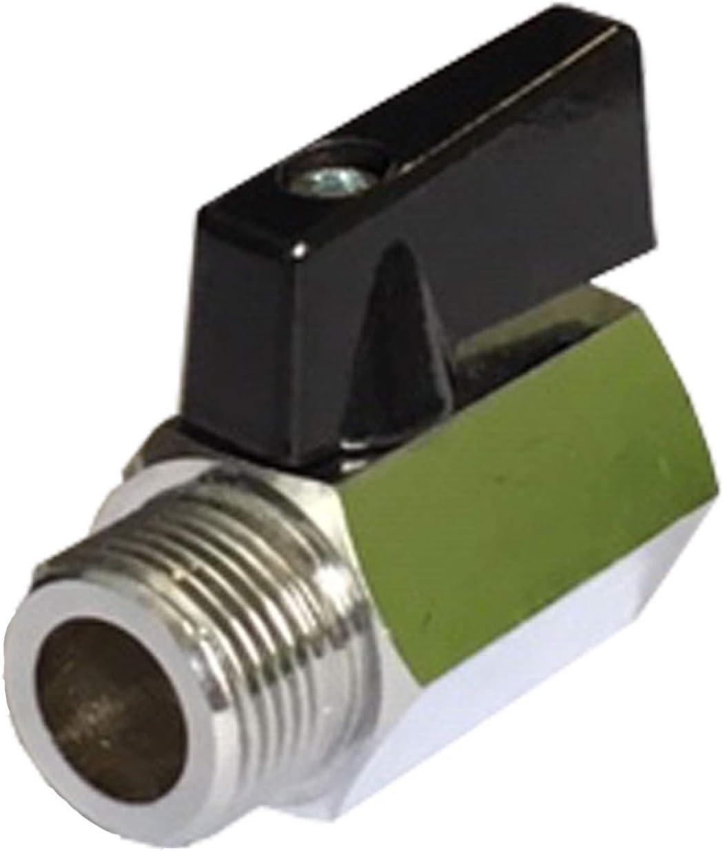 Absperrventil Messing IG//AG Mini-Kugelhahn flachdichtend mit Fl/ügelgriff 1//8 Zoll