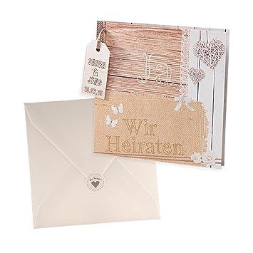 Holz Optik Einladungskarte Molly zur Hochzeit 3 Stück Blanko