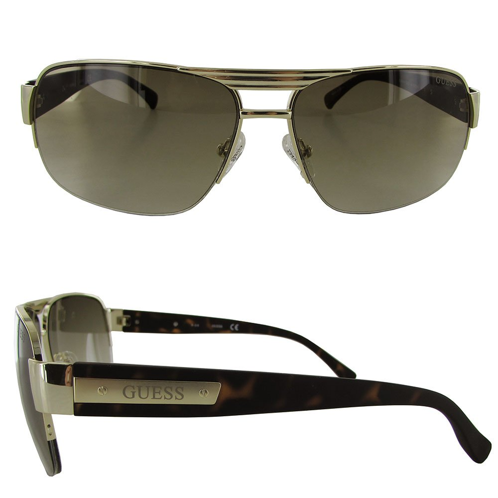 Gold Guess Mens GU6831//130 Rectangular Fashion Sunglasses