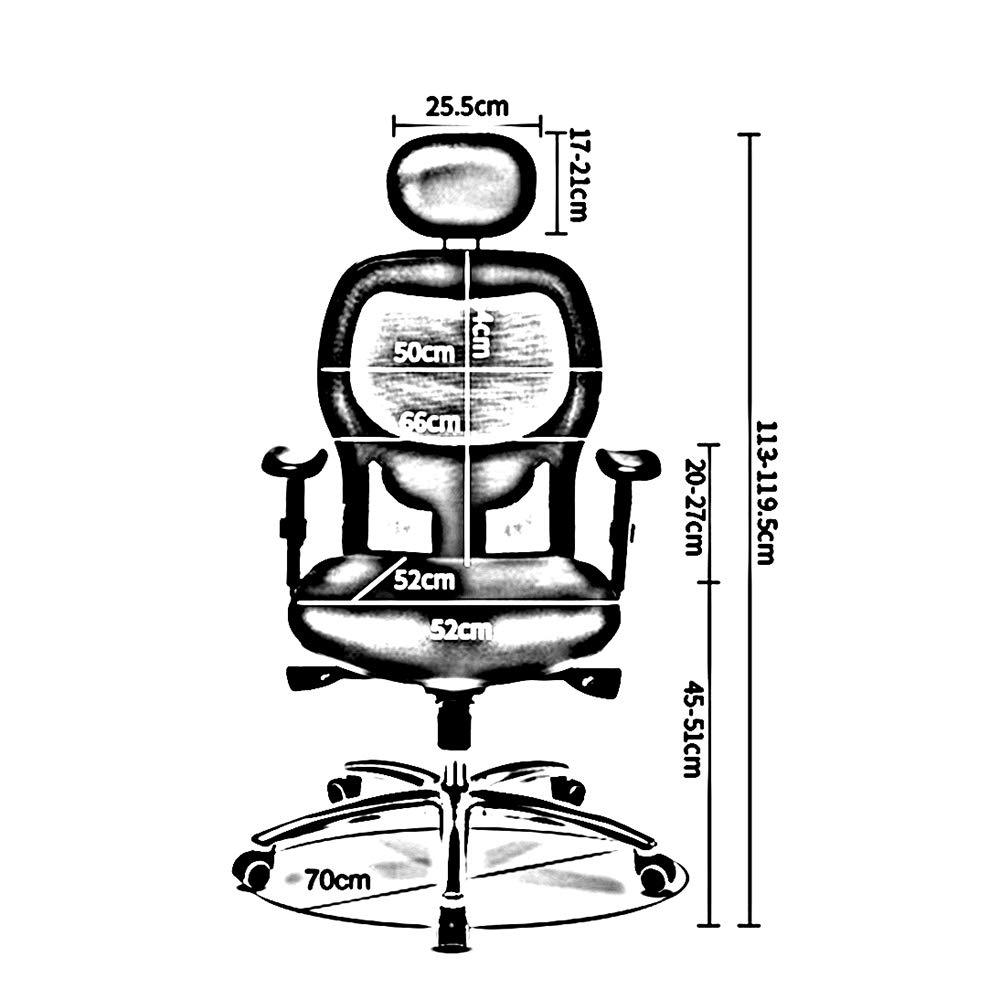 ZZHF Svängbar stol, ergonomisk datorstol hem förtjockning kudde svängbar stol bekväm vilande kontorsstol lyftstolar, ryggstöd stol (färg: Blå) BLÅ