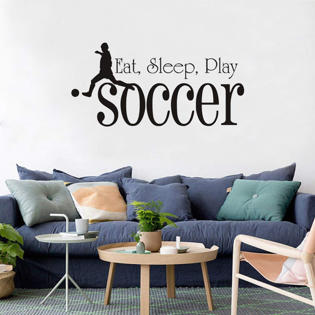 Eat Sleep Play Soccer Wall Stickers Boy Playing Football Wall Decals for Boys Room Kids Room Nursery Living Room Home Decoration