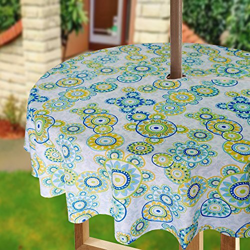 Lime Zipper - Eforcurtain Outdoor Decorative Polka Dots Printed Fabric Table Cloth Waterproof with Zipper, Lime Green 60 Inch Round Umbrella Table Cover Spill Proof Stain Resistant