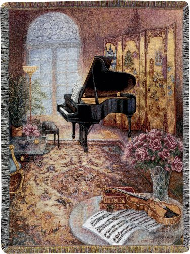 (Manual 50 x 60-Inch Tapestry Throw with Fringe, Music Room)