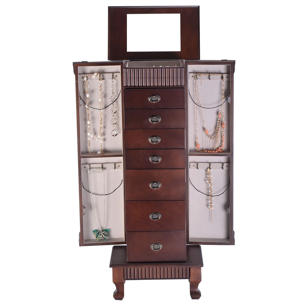 (US Stock) Jewery Armoire Jewelry Cabinet Box Storage Chest Necklace Wood Walnut Stand Organizer (Brown)