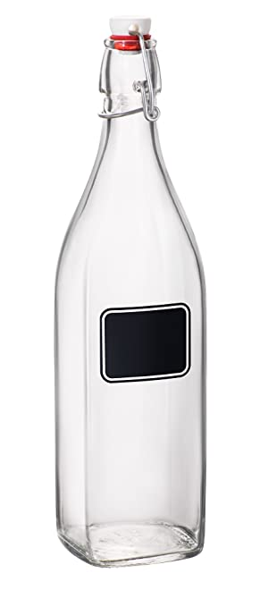 Bormioli Rocco Swing Bottle with Chalkboard, 33-3/4-Ounce, Set of 6 Water Bottles at amazon