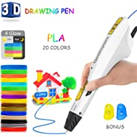 3D Printing Pen,DigiHero Intelligent 3D Printer Drawing Pen Compatible with 1.75mm PLA/ABS Filament,Safety Design,12 Feet in 20 Colors for Kids,3D Craft Pen,Christmas Toys/DIY Gift for Kids(White)