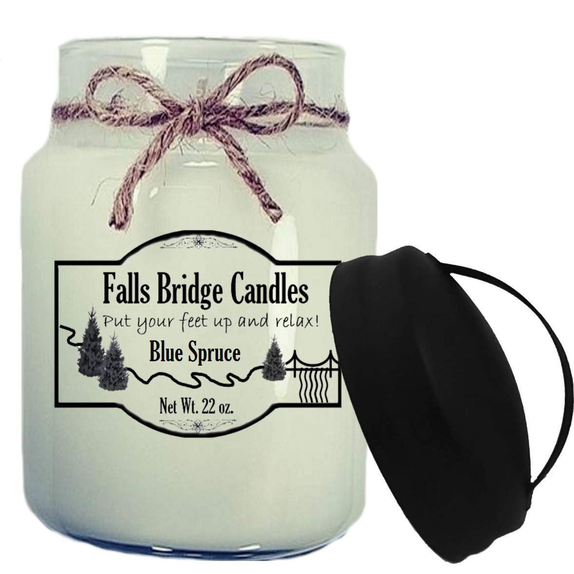 Falls Bridge Candles Blue Spruce Scented Jar Candle 22-Ounce w//Handle Lid