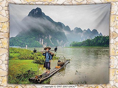 Lake House Decor Fleece Throw Blanket Traditional Chinese Fisherman with Birds and Basket on River Fog Mountains Nature Trees Throw Multi