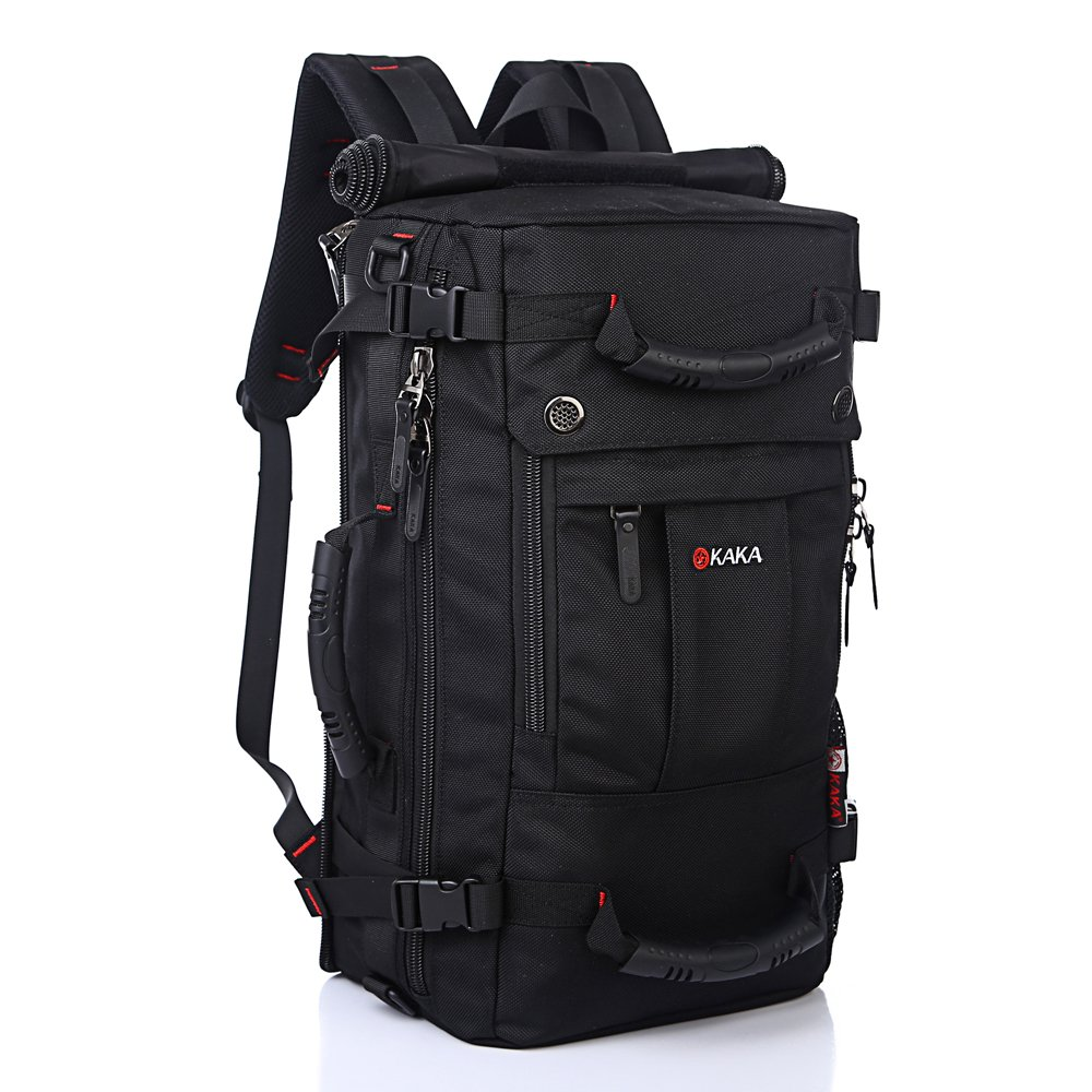 KAKA Classic Laptop Backpack, Travel Hiking & Camping Dayback for Women Men, Water-Resistant Big College School Bookbag Fits 17 Inch Laptop and Notebook Black