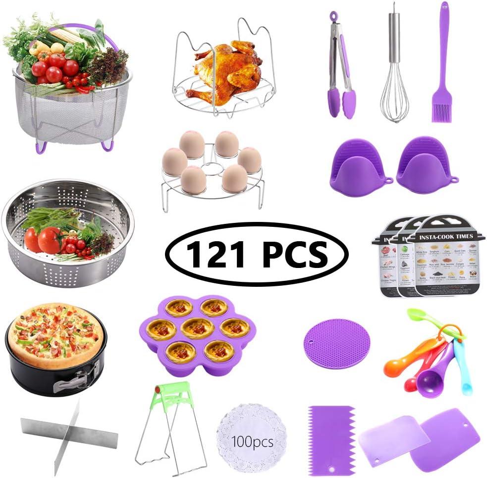 Geezo Instant Pot Accessories Set,121 Pieces Pressure Cooker Accessories Kit,Fits 5,6,8 Qt Instant Pot Pressure Cooker,Non-stick Springform Pan,Egg Rack,Egg Bites Mold,Kitchen Tong,Dish Plate Clip