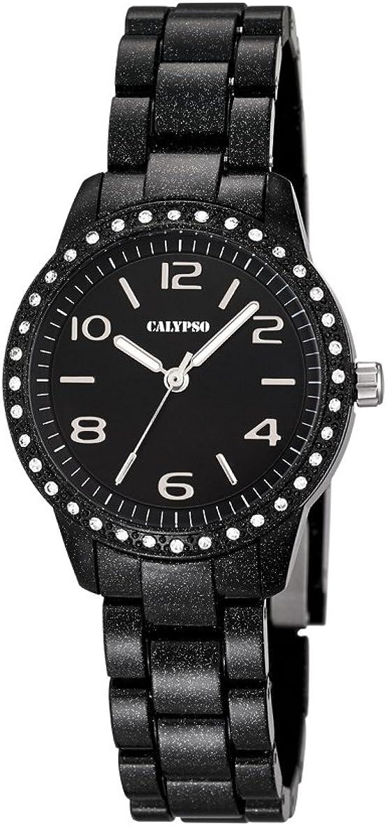Calypso–Reloj de Mujer de Cuarzo con Negro Esfera analógica Pantalla y Pulsera de plástico Negro k5647/4