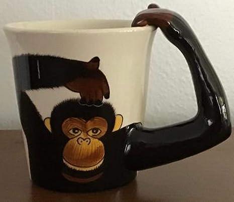 Amazon Com Monkey With Arm Handle Coffee Mug 10 Oz Or Monkey Planter Kitchen Dining