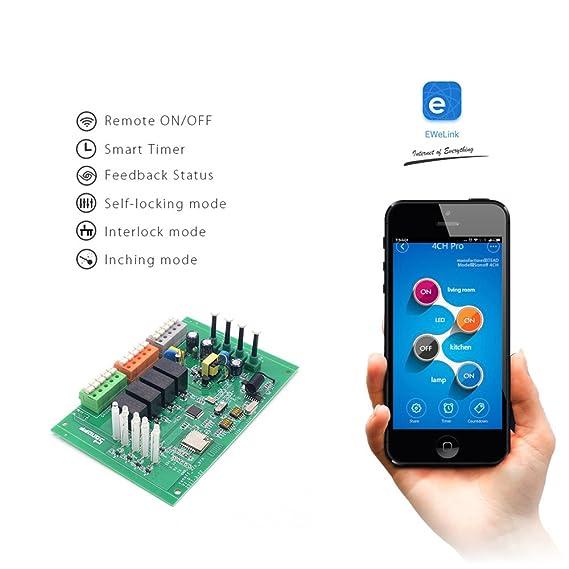 Sonoff 4CH Pro- Interruptor inteligente 4 Gang, Interruptor de enclavamiento para generador, Avance/Autobloqueo Interruptor inalámbrico WiFi&RF 90~250V ...