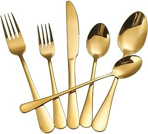 Gold Silverware Set,24-Piece Stainless Steel Flatware Set,Cutlery Tableware Set For 4,Mirror Finish,Dishwasher Safe