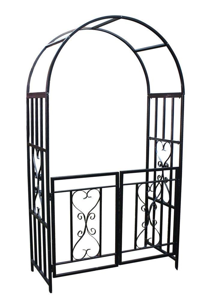 1. GO Steel Garden Arch with Gate, 6'7'' High x 3'7'' Wide, Garden Arbor for Various Climbing Plant, Outdoor Garden Lawn Backyard