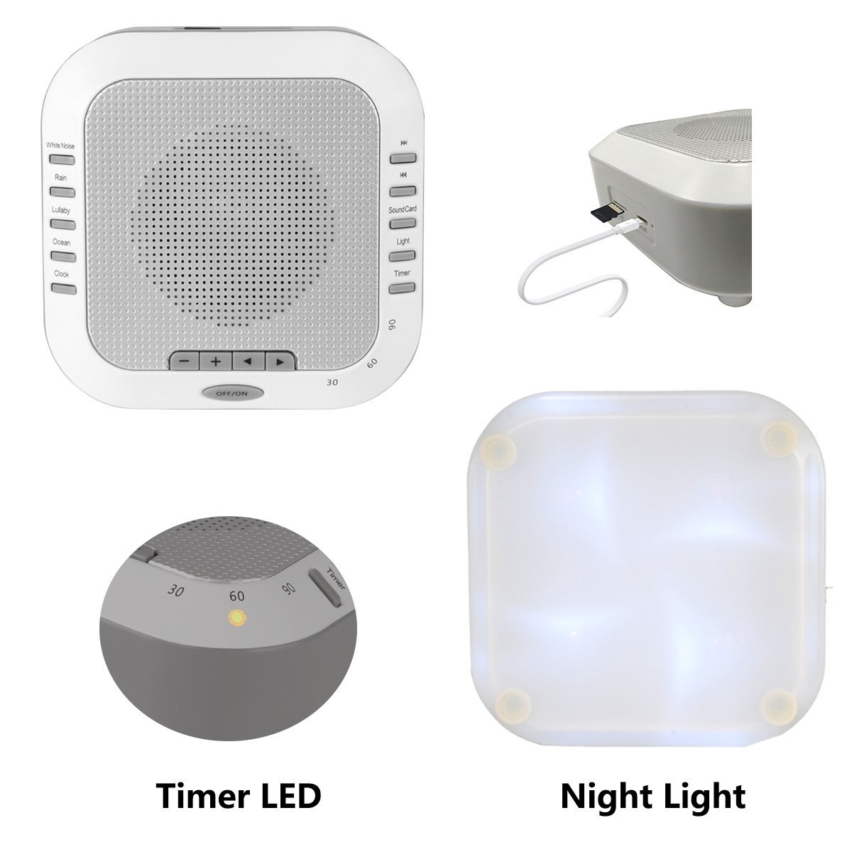three sheep White Noise Machine Sound Machine, Music Player with Night Light, Preset 5 Soothing Sounds, Timer, and Rechargable Battery Sliver