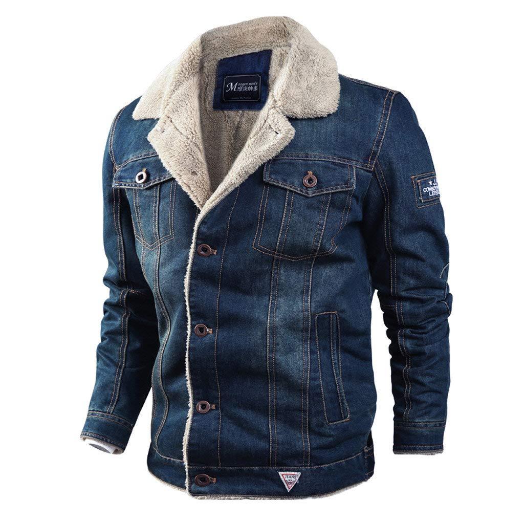 jin&Co Denim Jean Jacket for Men Lapel Button Down Winter Thick Warm Distressed Wool Cowboy Parka Coat Outercoat by jin&Co Men's Jacket