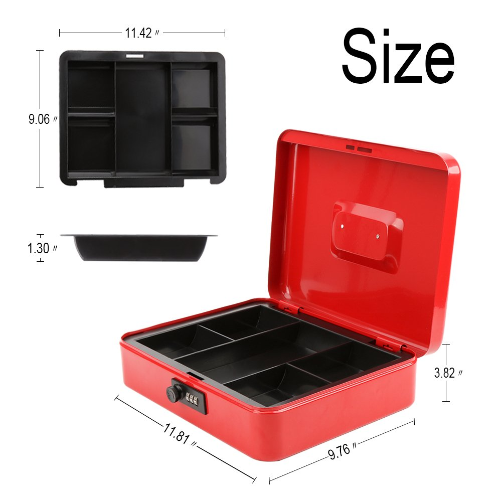 Safe Metal Cash Box with Money Tray & Combination Lock, Decaller Large Lock Storage Money Box with 5 Compartments Cash Tray, Red, 11 4/5'' x 9 2/5'' x 3 1/2'', QH3003L by Decaller (Image #4)