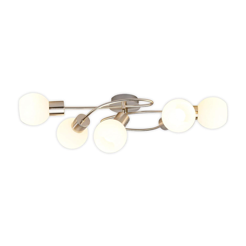 Lampenwelt LED Deckenleuchte 'Elaina' (Modern) in Alu aus Metall u.a. für Wohnzimmer & Esszimmer (5 flammig, E14, A+, inkl. Leuchtmittel) | Lampe, LED-Deckenlampe, Deckenlampe, Wohnzimmerlampe