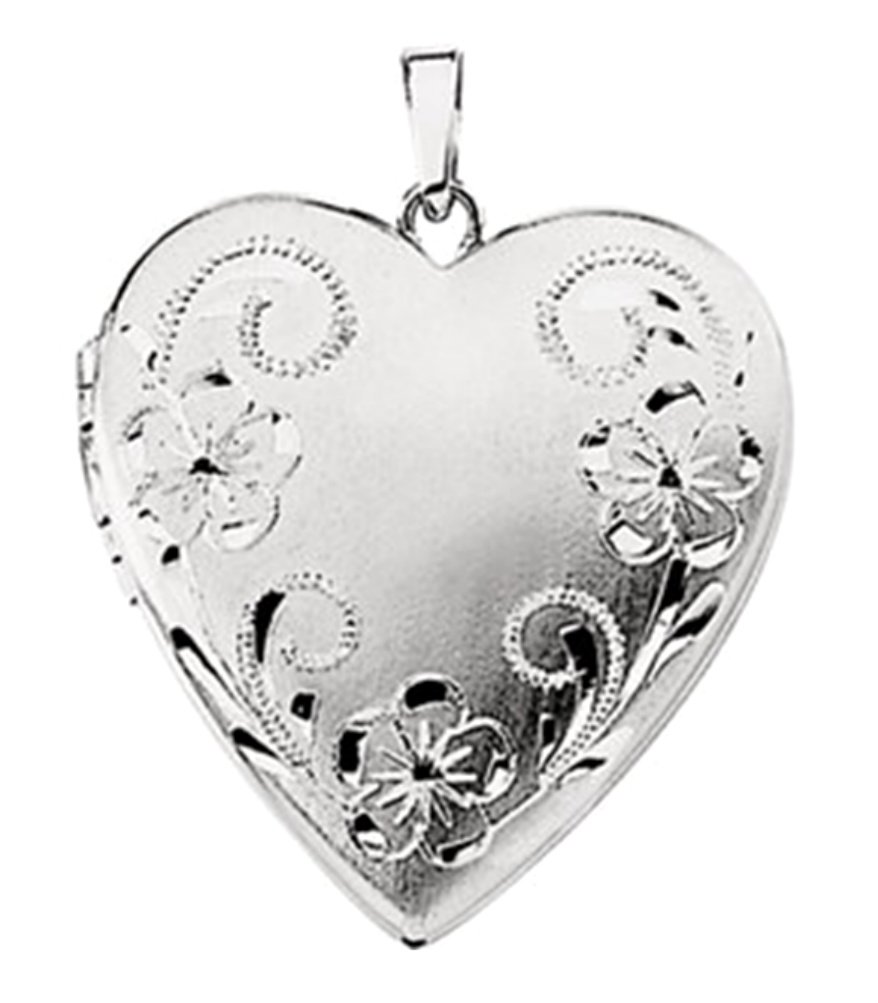 14k White Gold Brushed Satin Engraved Flowers 4 Picture Heart Locket Pendant by The Men's Jewelry Store (for HER)