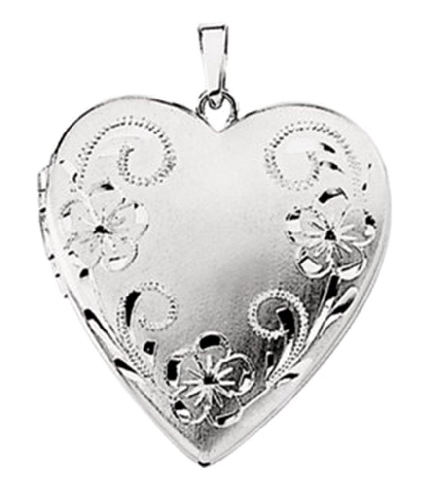 14k White Gold Brushed Satin Engraved Flowers 4 Picture Heart Locket Pendant