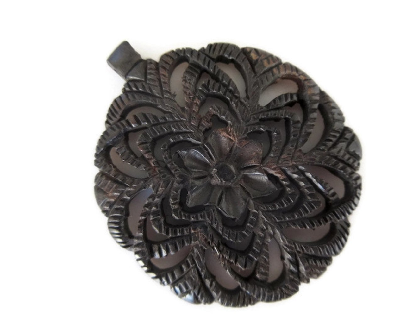 Hand Carved Ebony Wood Flower Pendant, Handmade Flower Pattern Pendant/Necklace, Wood Art And Craft Supplies Jewelry, GDS1046/11 (20 Pieces)