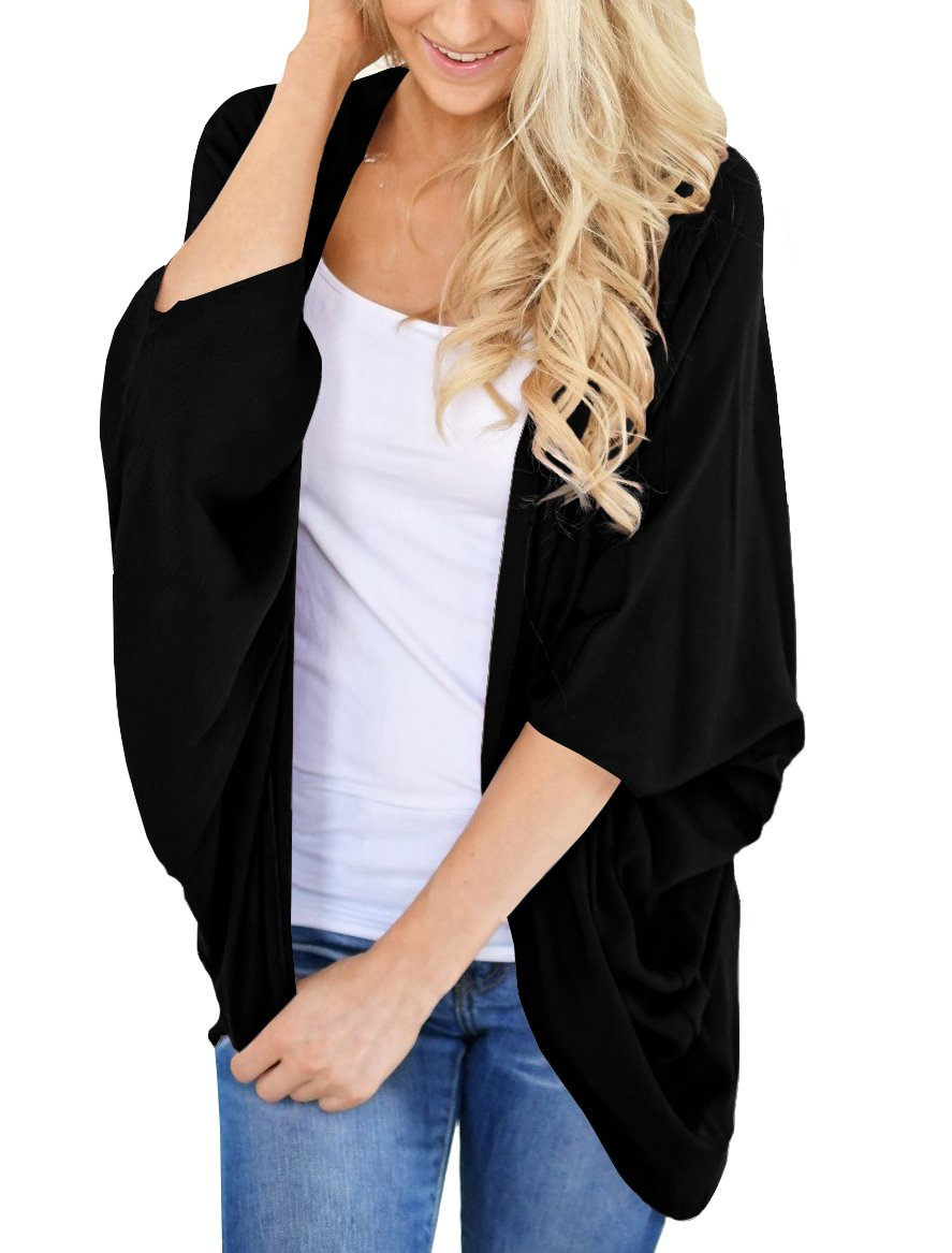 PRETTODAY Women's Summer Solid Color Kimono Cardigan Loose Sleeves Cover up (Large, Black)