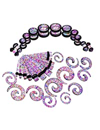 B Blesiya 36 Pack Glitter Gauge Kit Spiral Tapers Tunnels and Plugs Ear Stretching Starter Set for Women Men Gifts