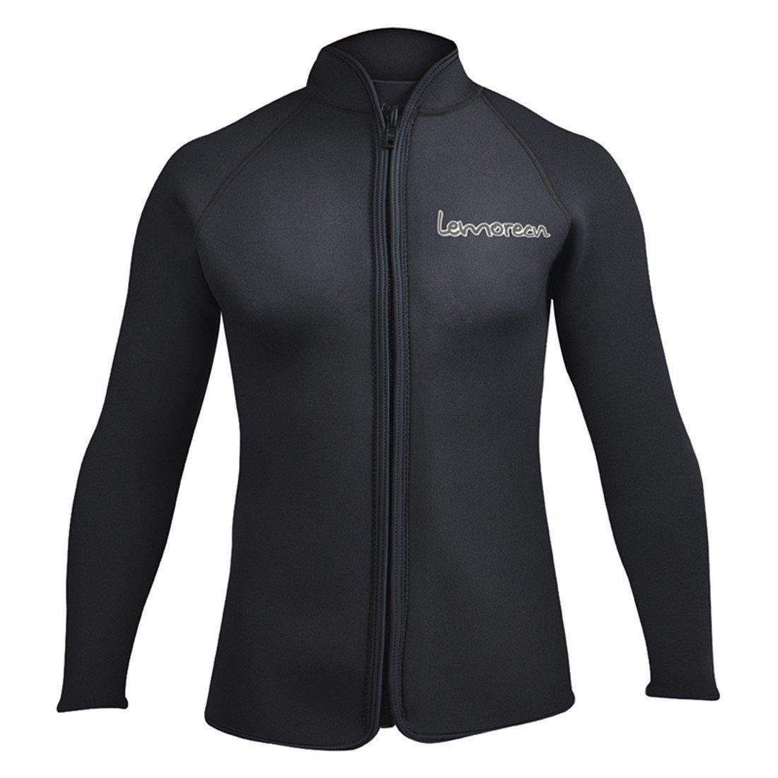 Lemorecn Adult's 3mm Wetsuits Jacket Long Sleeve Neoprene Wetsuits Top US Size (Black, 3XLarge)