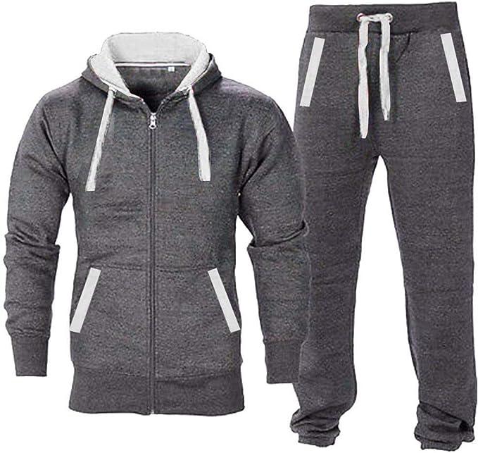 Mens Tracksuit Set Fleece Hoodie Top Bottoms Sweatpants Trackies Joggers Jogging