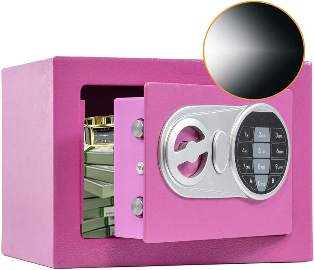 SamYerSafe Safe Box with Sensor Light,Security Safe with Electronic Digital Keypad Money Safe Steel Construction Hidden with Lock,Wall or Cabinet Anchoring Design for Office Home Hotel (Pink)