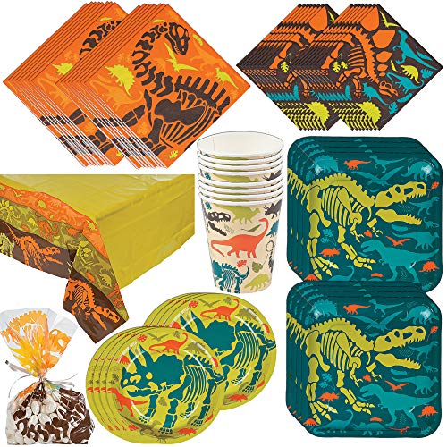 Fun Express Dino Party Bundle | Dinner & Dessert Plates, Luncheon & Beverage Napkins, Cups, Cellophane Bags, Tablecloth | Great for Dinosaur Party